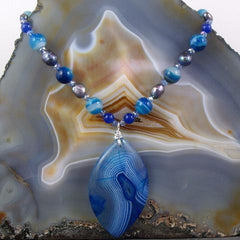 agate blue semi-precious pendant necklace uk