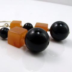 orange black drop earrings handmade semi-precious jewellery