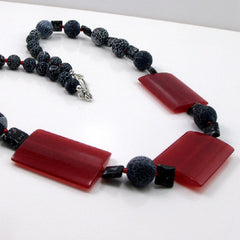 chunky red black necklaces handmade uk