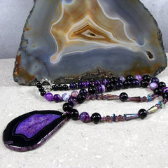 purple agate pendant necklace unique design