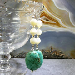 long turquoise gemstone unique statement jewellery earrings