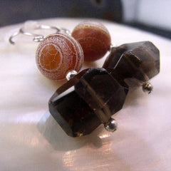 unique smoky quartz gemstone earrings statement jewellery UK
