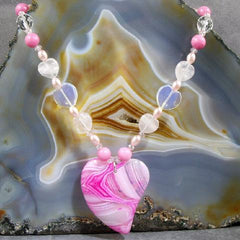 pink romantic heart necklace love jewellery design