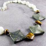 unique jade necklace set with tigers eye beads
