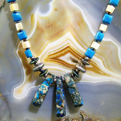 blue jasper semi-precious stone unique jewellery uk