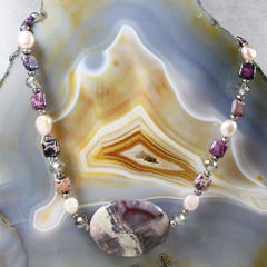 jasper semi-precious stone handmade jewellery with pearls