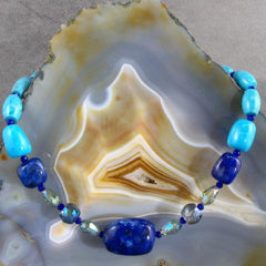 chunky blue gemstone jewellery necklace with pearls