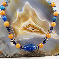 orange blue semi-precious statement jewellery handcrafted uk