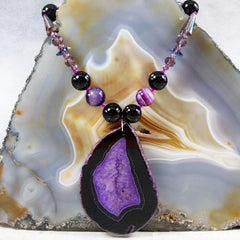 purple agate pendant unique purple necklace design