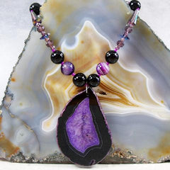 purple black long gemstone necklace uk