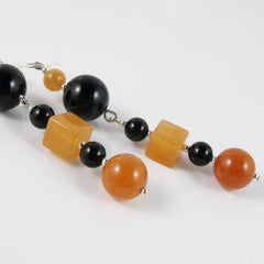 handmade black orange earrings jewellery uk