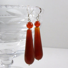 unique carnelian long drop earrings uk