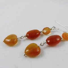 romantic carnelian earrings handmade with heart beads