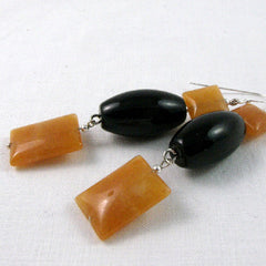 unique black orange drop earrings semi-precious jewellery