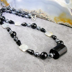 obsidian long gemstone jewellery necklace unique statement design