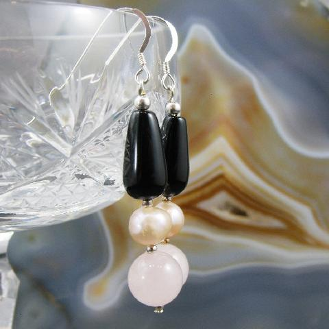 rose quartz long semi-precious unique statement earrings