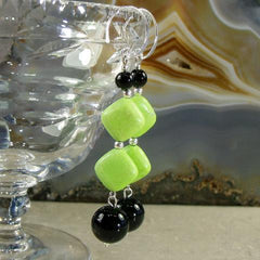 black onyx, green agate stone earrings