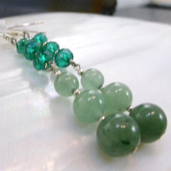 long green aventurine stone earrings