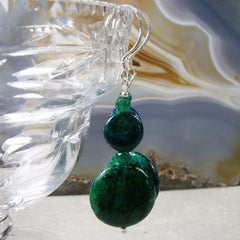 green jasper stone earrings
