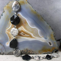 black grey gemstone long necklace uk crafted