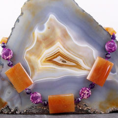 orange aventurine jasper unique statement necklace with semi-precious stones