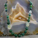 long agate chunky green semi-precious stone necklace