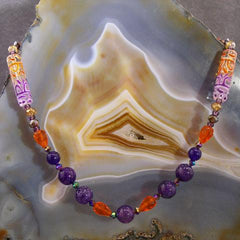 orange purple unique gemstone necklace long design