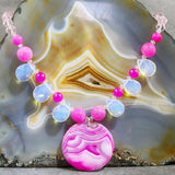 unique pink statement jewellery necklace uk made