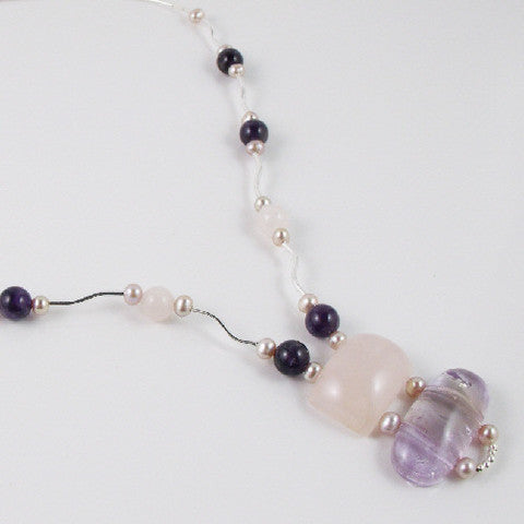 amethyst rose quartz necklace design