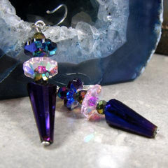 pink purple crystal drop earrings uk