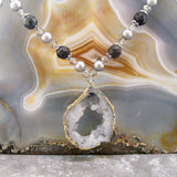 druzy quartz pearl necklace uk