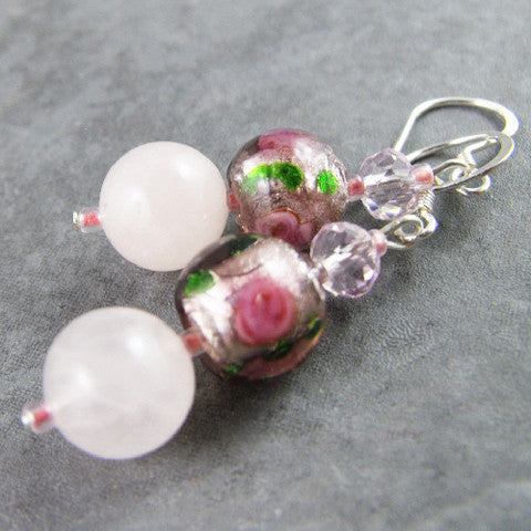 unusual rose quartz earrings onine jewellery handmade uk