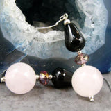 semi-precious onyx rose quartz semi-precious unique statement earrings