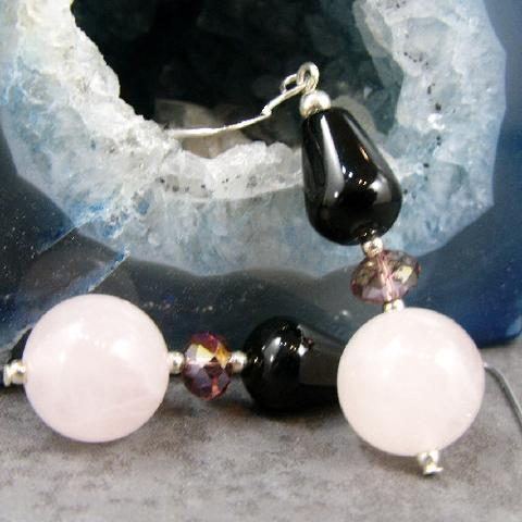 semi-precious quartz, semi-precious onyx statement earrings