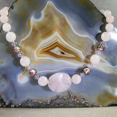 pink rose quartz semi-precious jewellery necklace
