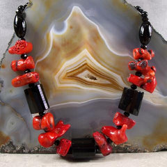red black handcrafted gemstone jewellery unique design