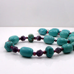 handmade turquoise necklace set with Amethyst
