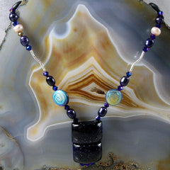 sterling silver blue semi-precious necklace uk crafted