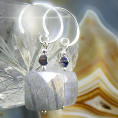 lapoadite gemstone earrings with square beads
