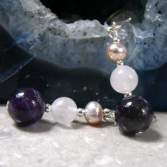 amethyst rose quartz semi-precious stone earring jewellery uk