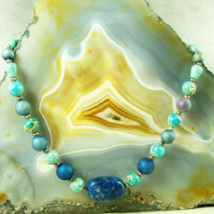 turquoise lapiz lazuli semi-precious blue gemstone necklace jewellery