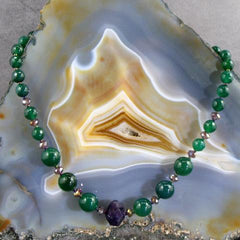 green gemstone jewellery necklace with Amethyst