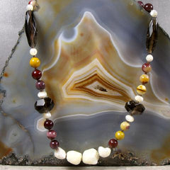 mookaite long gemstone unique necklace with mother of pearl