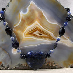 blue heart semi-precious necklace gemstone jewellery uk