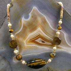 tigers eye semi-precious stone jewellery necklace uk