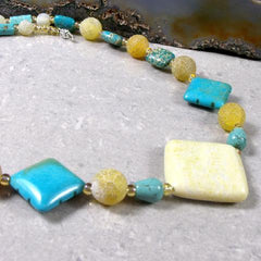 lemon jade turquoise handcrafted semi-precious unique necklace jewellery