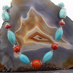 turquoise coral blue semi-precious stone necklace jewellery