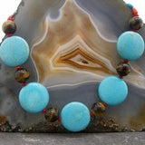 turquoise chunky long semi-precious stone necklace UK crafted
