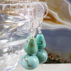 gemstone turquoise unique statement earrings uk