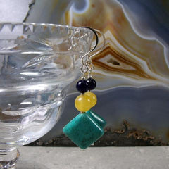 blue yellow gemstone statement earrings
